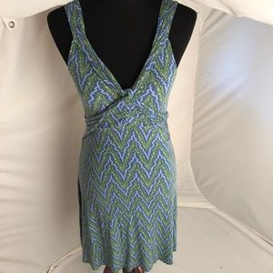 Free People blue/green/white sweetheart neck dress